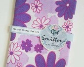 Purple, Lilac & Red Bold 1960s Retro Floral English Vintage Fabric Fat Quarter