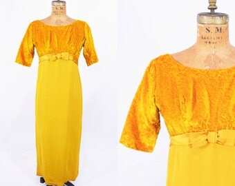1960s formal dress | mustard yellow velvet empire bust dress | vintage 60s dress | W 26""