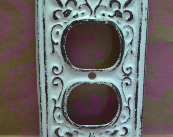 Fleur de lis Cast Iron FDL Plug Plate Cover Single Wall Shabby Style Chic Distressed Rustic French Decor FDL White White