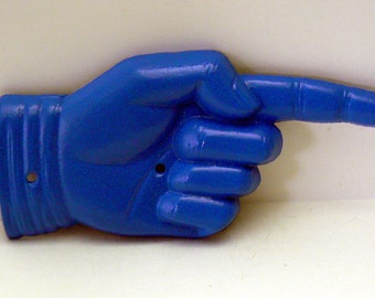 Finger Pointing Hand Right this Way Directional Cast Iron Wall Door Decor Sail Royal Blue