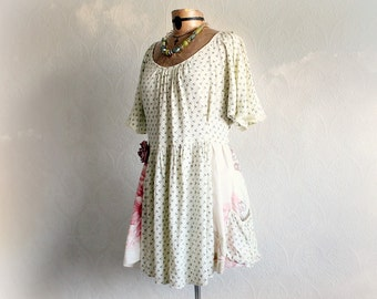 Shabby Tunic Dress Country Clothing Boho Women's Top Romantic Style Loose Floral Frock Pockets Festival Clothes Up Cycled Shirt L XL 'ANNIKA