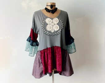 Bohemian Top Up Cycled Clothing Ruffle Bell Sleeves Reconstructed Shirt Boho Women's Tunic Retro Vintage Style Eco Friendly Top L XL 'SOPHIE