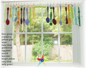 FREE SHIPPING! Savings of Twenty Dollars Shipping Costs! Happy Thoughts  Whimsical Kitschy Kitchen Window Treatment Valance Curtain