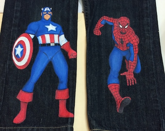 Custom Hand Painted Super Hero Jeans. ChoIce of 2 characters captain america, batman Long or short jeans sizes 12 m to 24m- 2t to 12 teen