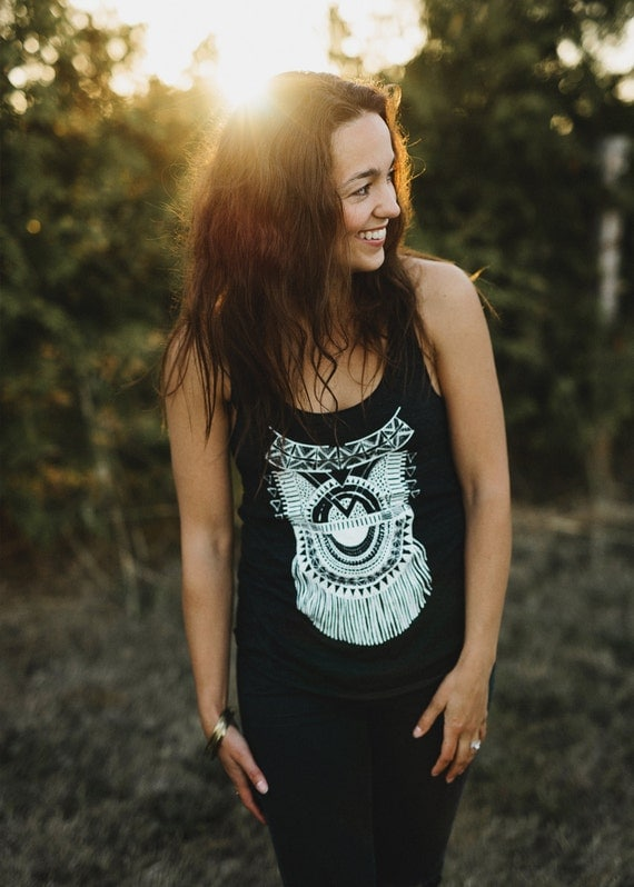 Impala || womens tank top, racerback tank, printed tank, tribal tank, jersey tank top, gifts for her, hand printed tank top || by Simka sol