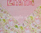 Personalized Blanket - Pink, Yellow and Green Animal Blanket for Girls - Personalized Baby Blanket - Cotton and Minky Blanket - Name Blanket