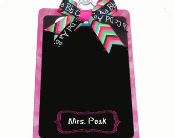 Teacher gift Chalkboard and Clipboard Personalized Chevron