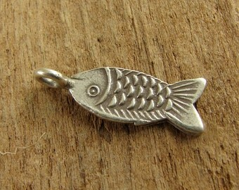 Hill Tribe Fine Silver Fish Charm - Thai Silver Charm - Fine Silver Charm - cfhtfs