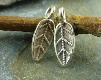 Hill Tribe Fine Silver Lovely Little Leaf Charm - Fine Silver Leaf - Thai Silver Leaf - Hill Tribe Leaf - htfslll