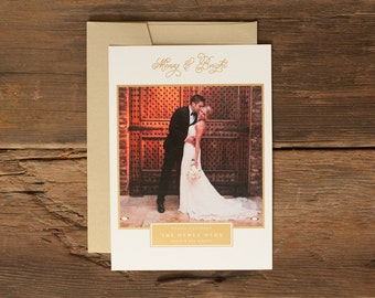 Custom Holiday Photo Cards - Personalized Christmas Card - Merry and Bright Gold Border
