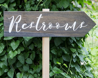 Rustic Distressed Wood Directional Arrow Wedding Event Restroom Restrooms Sign with Stake