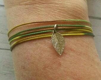 Silver Leaf Charm Bracelet - Modern Rustic Wrap - Best Boho - Coachella 2017 - Best Selling Item - Green String Bracelet