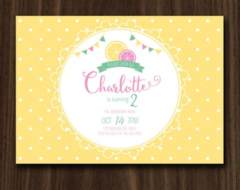 Lemonade Invitation, Lemonade Invite, Pink Lemonade Invite, Lemonade Theme Invite 5x7inch