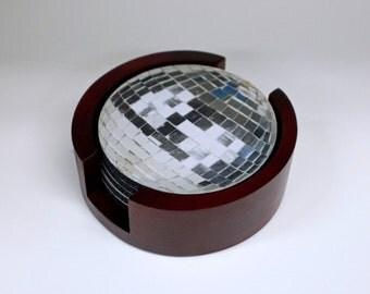 Disco Ball Coaster Set of 5 with Wood Holder