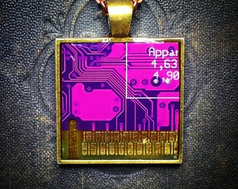 Circuit Board Pendant - Purple and Brass