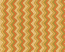 ON SALE Orange Green Gold Chevron Hello Fall Fabric  - Moda - Sandy Gervais - 17785 17 - Goldenrod