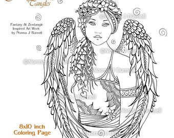 Angel Blessing Fairy Tangles Adult Printable Coloring Pages by