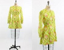 60s Mod Dress Medium / 1960s Vintage Green Fit and Flare Mini Dress / Strawberry Pickers Dress