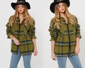 Vintage 50s PLAID Jacket GREEN Plaid WOOL Coat Vintage Cooper Jacket Indie Winter Jacket