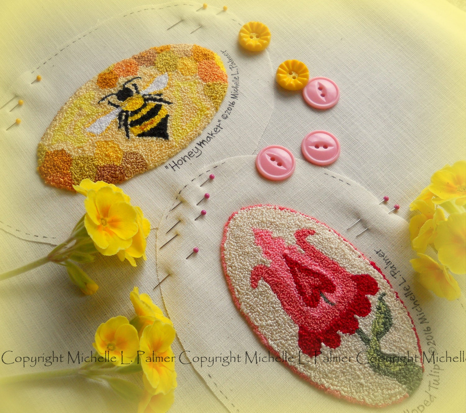 Bumble bee tulip flower set of two punch needle embroidery