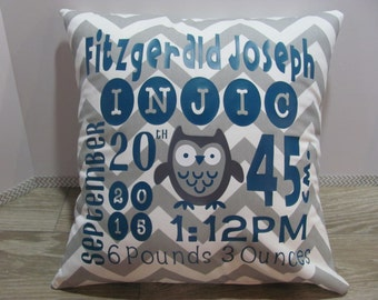 """Birth Announcement Pillow COVER - Personalized Baby Pillow - Nursery Decor - 16"""" x 16"""" Custom Baby Name Pillow - Baby Gift - Design Your Own"""