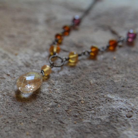 Dusk Quartz: Rutilated Quartz Necklace With Sunset By TinyBaublesbyEllen