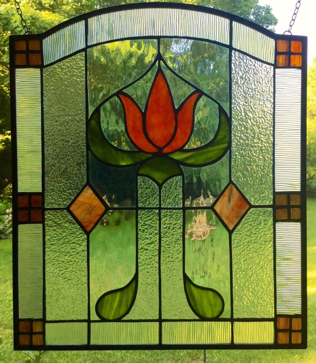 Craftsman missions stained glass window panel arts and crafts