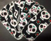 10 MamaBear Reusable VELOUR Cloth Wipes Set - Sugar Skulls