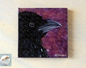 Raven miniature fine art acrylic painting black bird crow on canvas animal totem mini art for gift giving original tiny bird art