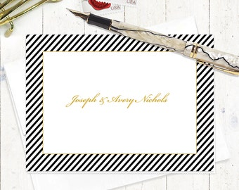 personalized stationery set - BLACK DIAGONAL STRIPE - set of 8 folded note cards - personalized stationary - choose color and font