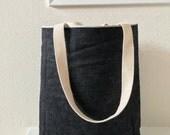 Black Japanese Denim Tote/ Bag/ Purse