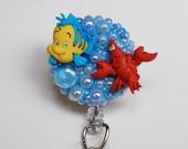 Little Mermaid's Flounder and Sebastin ID Badge Reel - Retractable ID Badge Holder - Zipperedheart