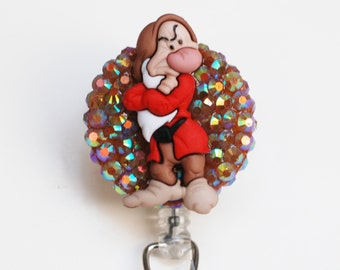 Bad Mood Grumpy From Snow White And The Seven Dwarfs ID Badge Reel - Retractable ID Badge Holder - Zipperedheart