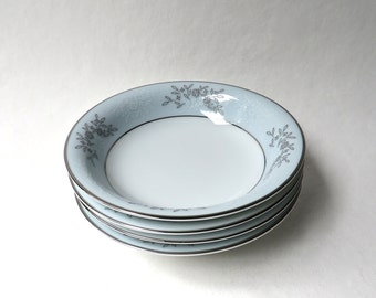 Mid Century vintage Fruit Bowls / Noritake Blueridge Fruit, Dessert or Sauce Bowls / Set of 4 / Grey and White Flowers on Pale Blue Band
