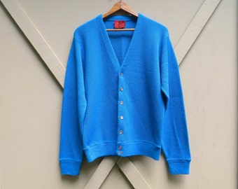 60s vintage Cerulean Blue Acrylic Knit Cardigan Sweater / Kings Road Shop / Sears The Men's Store