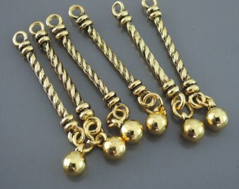 6 Pcs Antique Gold Tassel Earring Findings Tribal Charm Jewelry Component Bar Pendant Fringe Charms