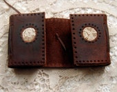The Lace Windows - Miniature Double Journal, Dark Brown, Tea Stained Pages, Vintage Lace, OOAK