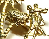 Dancing under the Palm Trees Vintage Figural Pin