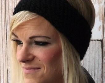 Knit Ear Warmer - Black Headband - Black Ear Brassiere - Ear Warmer - Warm Ear Brassiere - Head Wrap - Winter Accessory - Ear Muff