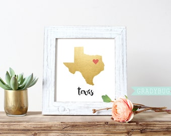 Gold Foil State Print Digital Print Personalized State Print Wall Decor Printable California New York Idaho Texas - Instant Download
