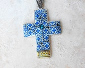Portugal Blue Antique Azulejo Tile Replica Cross from Ovar (see photo of actual cade) Individually Placed Tiles!