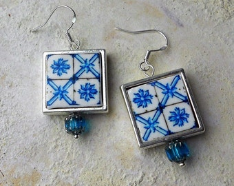 Portugal Antique Azulejo Tile Replica SILVER FRAMED Earrings, Delft Blue Pombaline Ovar  Waterproof Reversible (see Facade photos) 602 SF