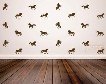 Horse wall decal, set of 24 vinyl horse decals, horse stallion farm barn cowboy western vinyl wall decals, vinyl horse wall decals, horses