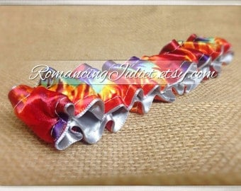 The Original Fully Reversible Bridal Garter..You Choose The Colors..shown in silver gray/dominate red tye dye accent