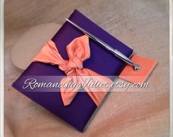 Knottie Wedding Guest Book and Pen Set...You Choose the Colors..shown in eggplant purple/burnt orange