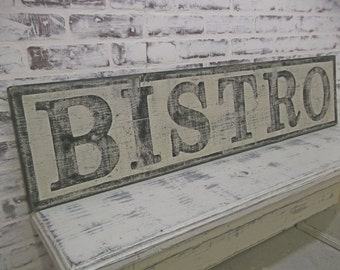 BISTRO Sign, 4' Long, Weathered Vintage Inspired, Hand Lettered, Cottage Style, Shabby Chippy Farmhouse Chic