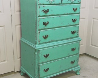 Chest of Drawers, Distressed Aqua Green Cottage Style  - DR103 Shabby Chippy Farmhouse Chic