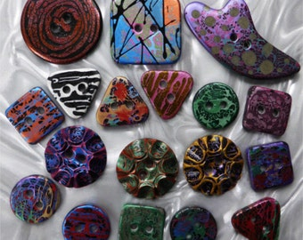 Handmade Resin Sewing Buttons - MY CHOICE of mixed selection of 3 sizes