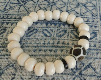 BONE MALA Beads with Giraffe Bead Bracelet, yoga, boho, tribal