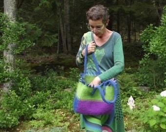 felted wool tote, medium tote, blue, purple, lime